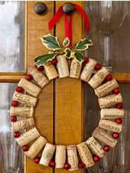 Recycled cork wreath--Gotta make for Christmas.how many Christmas wreaths can you have over a holiday season? Christmas Wreaths To Make, Noel Christmas, Christmas Decorations, Christmas Ornaments, Holiday Wreaths, Christmas Ideas, Christmas Yard, Yard Decorations, Cork Ornaments