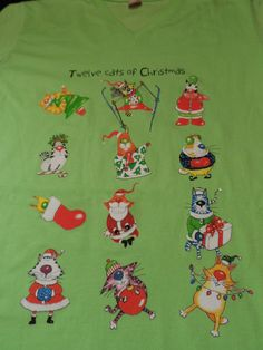 Women's Night Shirt 12 Cats of Christmas Sleepshirt LAT Ladies Petite PM Green  #LAT #Sleepshirt
