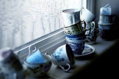 She always kept endless stacks of teacups on the windowsill. She thought that a cup of tea was in order for any problem, no matter the severity. And cups must be reached easily.
