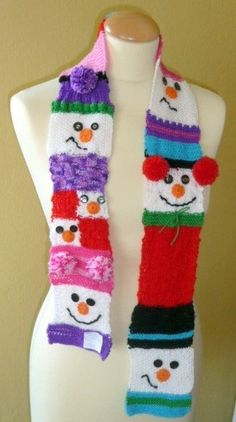 Snowman Baby Scarf Baby Wool 100% by YellowBiba on Etsy