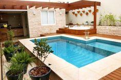 PROJETO E REFORMA DE area de lazer pequena com piscina borda mais alta em uma parte - Pesquisa Google