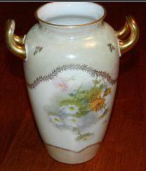 R C, Rosenthal Vase with 2 Handles, upside down flowers, 21 cm Handle, Victorian, Jar, Antiques, Flowers, Painting, Vintage, Decor, Antiquities