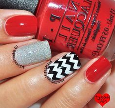 Black White Silver And Red Nails Nails Pinterest Red Nails Red Black And White Nail Designs