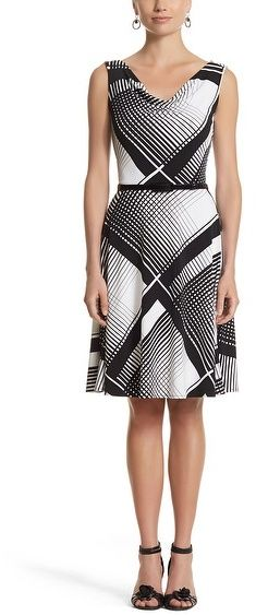 White House Black Market Sleeveless Drop Pleated Fit & Flare Dress on shopstyle.com