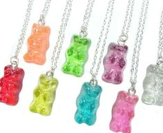 Gummy Bear Necklace   They look good enough to eat. Show off your gummy love, or share with your mom for Mother's day.