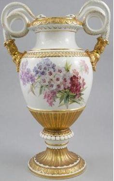 """Antique 1850 Huge Violets Meissen Snake Vase Porcelain Urn 19"""""""