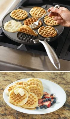 Make the perfect mini waffles with the Waffle Pancake Pan! This innovative cast-aluminum griddle from Nordic Ware allows you to create 7 waffles in a jiffy.Cool Kitchen Gadgets - Love this waffle pan! Oh Williams Sonoma you and your crafty kitchen gadgets Home Gadgets, Kitchen Tools And Gadgets, Cooking Gadgets, Gadgets And Gizmos, Cooking Tools, Kitchen Hacks, Tech Gadgets, Technology Gadgets, Cooking Box