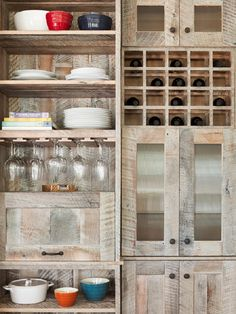 Pallet Kitchen Cabinets [NOTE TO SELF: mine certainly don't need to be so fancy w/ wine bottle racks & wine glass holders; open shelves up top & shelves below w/ cabinet doors with suffice] $0 (plus the cost of hardware, but the wood is free!)