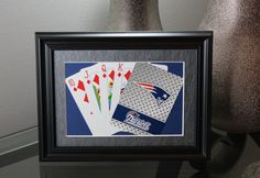 New England Patriots 5x7 Flush Diamonds Authentic Playing Card Display by SinCityDisplays on Etsy