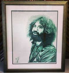 Jerry Garcia Limited Edition art using two acid-free mats and a nickel green frame by Nurre Caxton! #art #framing #denver #colorado #jerrygarcia #gratefuldead