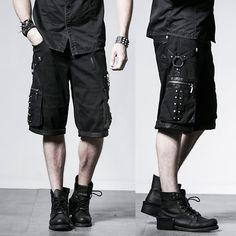 Men Black Heavy Metal Studded Punk Rock Biker Fashion Bermuda Shorts SKU-11404366