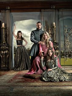 """Outfits from the Irish/Canadian TV series, """"The Tudors"""" create by Michael Hirst, and inspired by the life of Henry the VIII and his wives.  The costumes were designed by Joan Bergin, who wanted a more unique and """"sexy"""" approach to period drama costume designing. She wanted the audience to be able to relate with the costumes, hence the incorporation of modern elements into 16th century outfits. One example of this is her elimination of wig-wearing, which would have been com"""