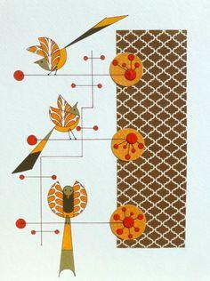 Atomic Mid Century Modern Styled Birds Original by COLBYandFRIENDS, $50.00