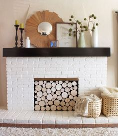 Fuel warm and snuggly nights at home by including a spot for logs in your fireplace design Unused Fireplace, Fireplace Cover, Fireplace Screens, Brick Fireplace, Fireplace Mantels, White Fireplace, Fireplace Ideas, White Mantel, Fireplace Redo