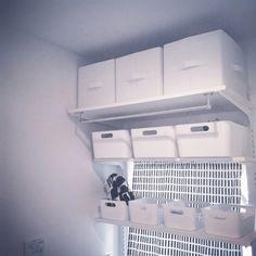 umimicaさんの、北欧ファブリック,IKEA,DIY,ロイヤル金物,建売,洗濯機上の棚,こどもと暮らす,モノクロ,シンプル,モノトーン,洗面所の棚,ランドリー,ニトリ,窓を生かしたまま棚,カメラマークいっぱい,白黒,シンデレラフィット,バス/トイレ,のお部屋写真