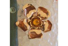 Vintage Huge Copper Flower Pin-Mid Century-Gold Rhinestone Center