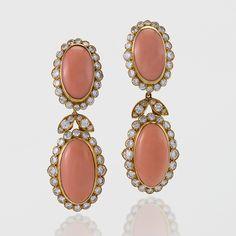 Van Cleef & Arpels Coral and Diamond Drop Earrings