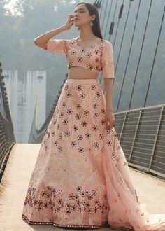 #peach #embroidery #lehenga #choli #dupatta #indianwear #traditional #outfit #beautiful #bride #new #designer #collection #ootd #wedding #time #womenswear #online #shopping Silk Lehenga, Purpose, Presentation, Peach, Note, Mirror, Formal, Fabric, Wedding