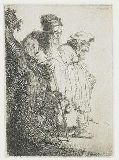 Bedelaar en bedelares, komende vanachter een heuveltje Rembrandt1628/1632