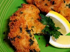 Panko, Parmesan and Parsley Pork Chops- I love these. They are so good with a little bit of fresh lemon squeeze over them. I serve them with a green vegie.