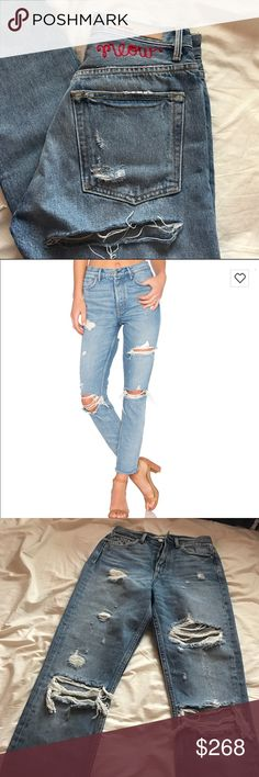 Brand new grlfrnd x revolve karolina jeans Brand new without tags and sold out on revolve. You couldn't personalize this style on revolve.com, so I had to take it to lot, stock, and barrel (the same company that does it for revolve) to get them done for an extra $25. These fit true to size and have no stretch. For Love and Lemons Jeans