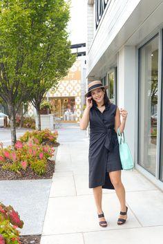 My Style Vita - A Fashion and Lifestyle Blog. Black shirt wrap dress+black heeled sandals+mint handbag+canotier hat. Summer outfit 2016