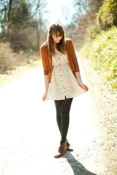 Love the dress (with a longer hem) + boots + tights + cardigan combo.