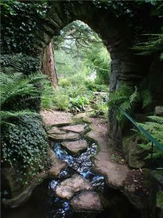 I love the idea of a stream running inside. If England weren't so cold I'd have one running straight through the house. Dewstow gardens grottoes in Gwent. More