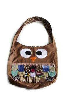 Brown  Owl Tote Bag Purse  Animal Bird Handmade  Cute by neca84,