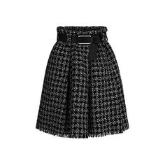 BLEND TWEED BELTED SKIRT found on Polyvore featuring polyvore, women's fashion, clothing, skirts, checkered skirt, pleated skirt, holiday skirts, checked skirt and evening skirts