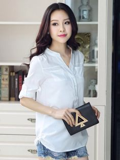 LONG SLEEVE SHIRT LOOSE STAND COLLAR SUMMER FASHION STYLE BLOUSES SHIRTS