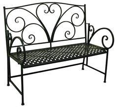 black iron heart bench | ... Outdoor Furniture » Outdoor Chairs & Seating » Bench- Swirl Heart