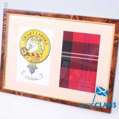 Ramsay Clan Crest & Real Tartan Framed. Free Worldwide Shipping Available