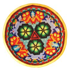 Huichol Beaded Bowl with Green Peyote and Deer in Microbeads