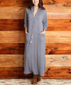 Another great find on #zulily! Gray Cable-Knit Hooded Maxi Dress - Women #zulilyfinds