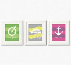 Sailor Art Print Set ii  Set of three 8x10  Yellow by pixelgecko, $44.70