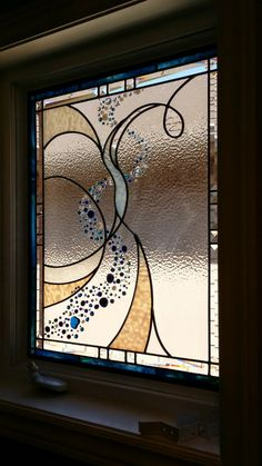 """A privacy screen made by Glassworks Studio. """"a beautiful water inspired privacy panel.. Focusing on the clients'  vision.... water, organic, fluid, free form...to name a few details... full privacy required!"""""""