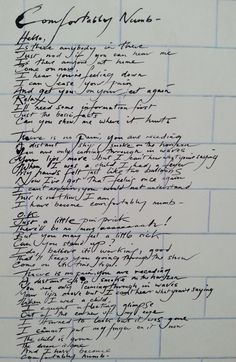 fezgod: Pink Floyd - Comfortably Numb - The Wall.