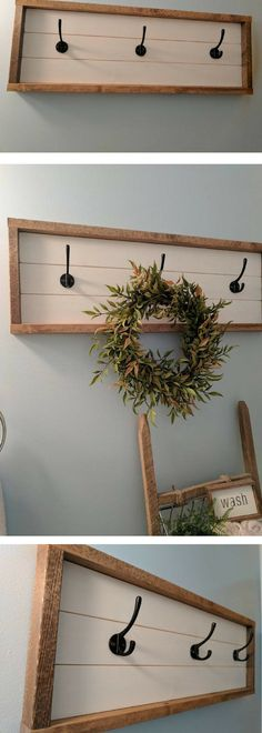Rustic farmhouse inspired shiplap 3 hook sign (light assembly required), Farmhouse décor , rustic décor, fixer upper style, shiplap décor, gallery wall, entry way, coat rack #ad