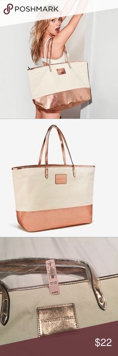 """Limited Edition Beige Canvas and Rose Gold Tote New with Tags Victoria's Secret Large Beige Canvas Rose Gold Tote Bag Spring 2017 Limited Edition.$78.00 Retail. Zip top closure but no additional inside or outside pockets. Weekender Carry on Travel Tote- 21"""" x 12.5"""" x 8"""" when flat. Victoria's Secret Bags Totes"""