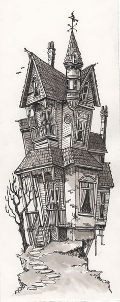 Image of Spooky House Building Drawing, Building Art, Dark Art Drawings, Art Drawings Sketches, Haunted House Drawing, Casa Halloween, Spooky House, Harry Potter Drawings, Pencil Drawings