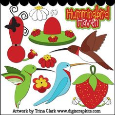 Hummingbirds 1 Clip Art  $5.00   Sale: $0.88  Save: 82% off  Keywords: hummingbirds, feeders, flowers, wildlife    This collection includes very large graphics so they'll work well for printed projects, but can also be reduced in size for web graphics. All images are high quality 300 dpi and come in both transparent PNG and non-transparent JPG formats. Original artwork by Trina Clark.