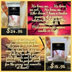 New release Midsummer's Romance.  Get that perfect sent with a surprise inside.  Get yours today #midsummersromance #jewelry #candles #tarts #jewelryincandles #bellasjewelcandles #madeintheUSA