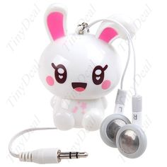 3.5mm Rabbit Pendant Retractable Cable Earphone Headphone for Moblie Cell Phone/ MP3/ MP4 Player - White MHS-28516