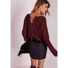 Missguided Lace Up Back Oversize Jumper ($43) ❤ liked on Polyvore featuring tops, sweaters, burgundy, jumper top, over sized sweaters, oversized sweaters, red oversized sweater and oversized tops