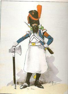 French; 65th Line Infantry, sapper, Winter Grande Tenue, in Spain