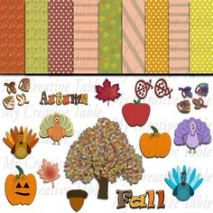 Scrapbook Digital Clipart Autumn Fall Seasonal by MyCreativeTable