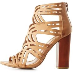 Bamboo Laser Cut Chunky Heel Sandals ($35) ❤ liked on Polyvore featuring shoes, sandals, natural, open toe shoes, chunky-heel sandals, lace up chunky heel sandals, lace up shoes and laced sandals