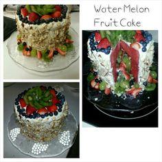 Catering, Fruit Arrangements, Fruit Carving, Unique Fruit Ideas, Watermelon Fruit Cake w/ icing, diy fruit ideas