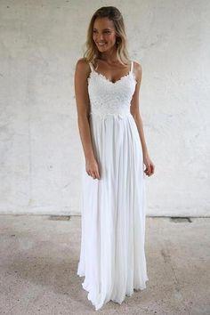 fe8a2255e1 A-line Spaghetti Straps Lace Top Beach Wedding Dresses - March 16 2019 at
